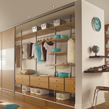 Lancaster oak Aura reach-in wardrobe interior.