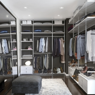 White Aura walk-in wardrobe interior.