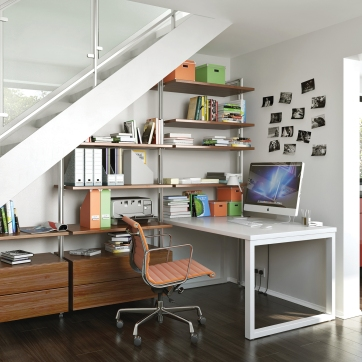 Under stairs office area with Relax walnut effect.