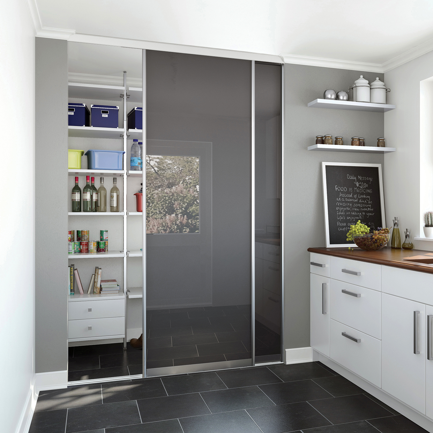 Pantry Ideas With Sliding Doors: Kitchen / Utility